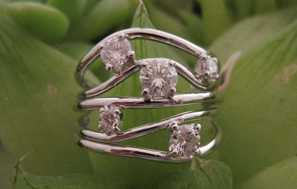 Rachel's (claw set) Diamond Wave Ring