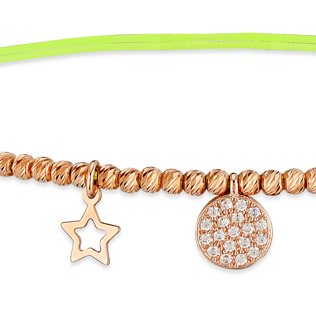 Silk cotton anklet with gold beads and charms