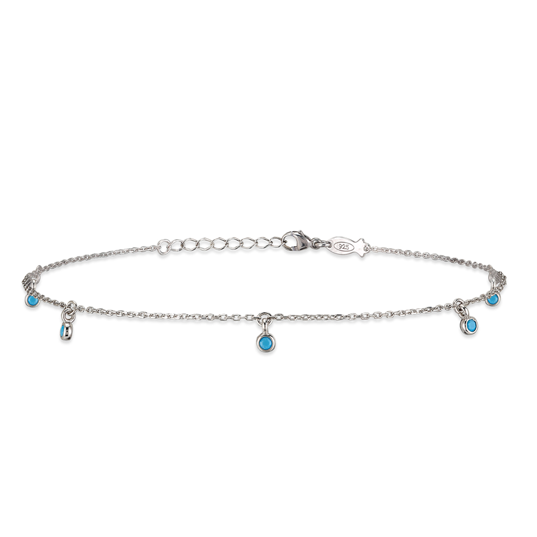 Sterling silver anklet with turquoise charms